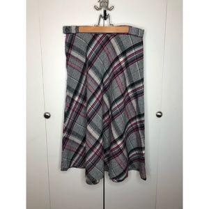 Vintage 1970's plaid wool skirt